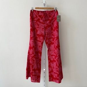NWT Anthropologie Red Pink Floral Flare Pants 4